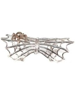 Silver Articulated Spiderweb Ring With Bronze Spider