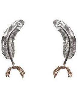 Little Silver Feather With Gold Parrot Claw Earrings