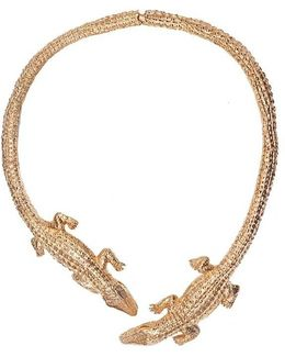 Double Crocodile Bronze Necklace