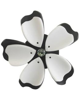 Black And White Flower Brooch