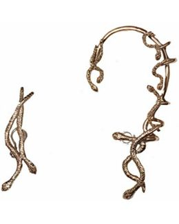Snakes Bronze Mismatched Earcuff And Earring