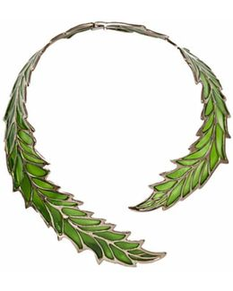 Openwork Green Enamel Leaf Necklace