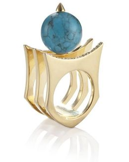 Greta 01 Gold And Turquoise Ring