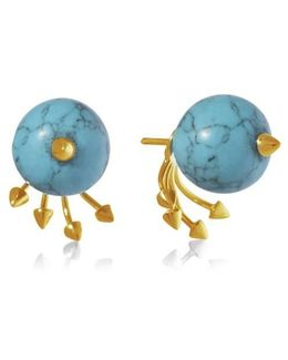 Greta 05 Gold And Turquoise Earring
