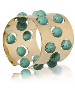 Greta 04 Gold And Turquoise Cuff