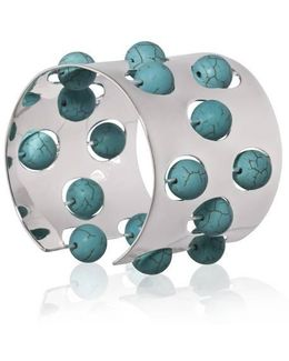 Greta 04 Silver And Turquoise Cuff