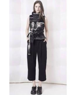 Black And White Chunky Knit Sleeveless Sweater