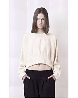 Crème Cropped Knit Cotton Sweater