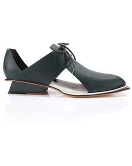 Tapper Green Leather Cutout Oxfords