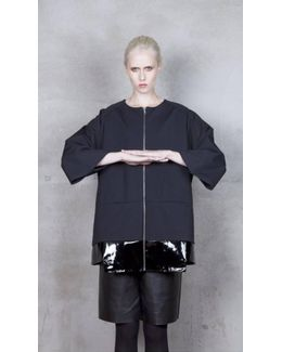 Tetris Black Patent Leather And Jersey Jacket