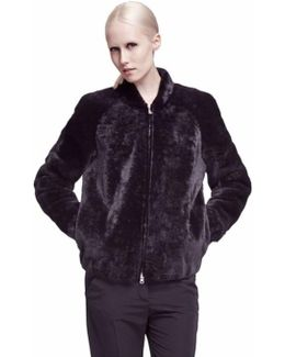 Alden Black Merino Shearling Bomber Jacket