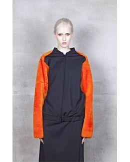 Alden Black/orange Merino Shearling Bomber Jacket