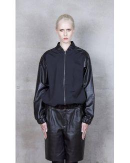 Alden Black Jersey And Leather Bomber Jacket