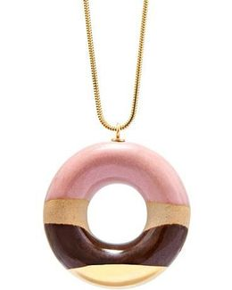 Vanilla Doughnut With Wild Strawberry Coffee And Gold Glaze