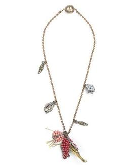 Summer Place Beaded Floral Pendant Necklace 23