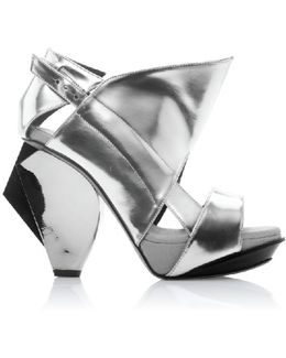 Lorac Metallic Silver Leather Sandals