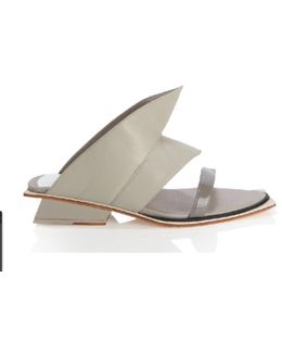Nais Concrete Leather Mule Slide