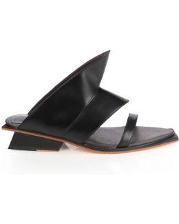 Nais Black Leather Mule Slide
