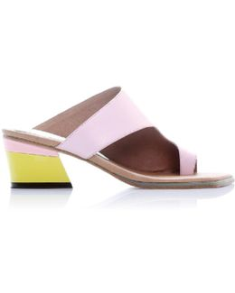 Zil Pink Asymmetric Toe Slide Sandals