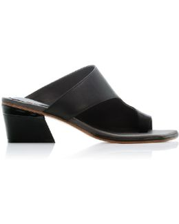 Zil Black Asymmetric Toe Slide Sandals