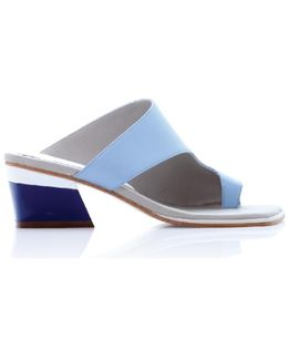 Zil Sky Blue Asymmetric Toe Slide Sandals