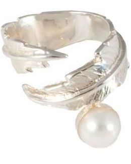 Feather Pearl Open Ring
