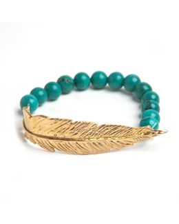 Gold Feather Bead Bracelet