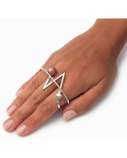 Acis White Rhodium Knuckle Ring