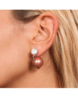 Yan White Rhodium Earring
