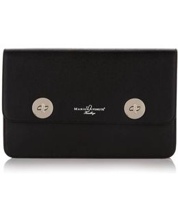 Issoria Black Leather Clutch