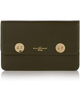 Issoria Olive Leather Clutch