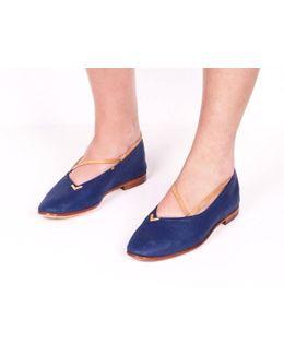 Robe Blue Linen Flats