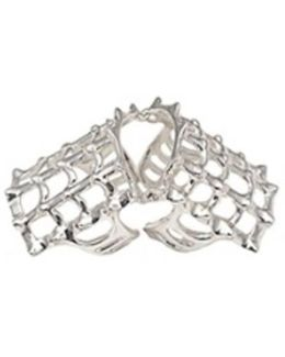 Cage And Studs Articulated Silver Ring