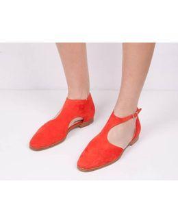 Red Suede Triumph Y-strap Flats