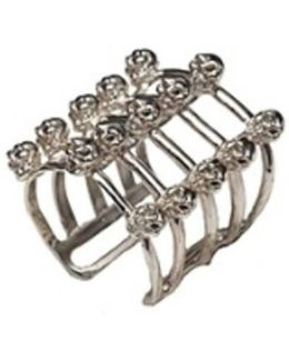 Cage And Skulls Silver Ring