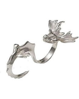 Dragon Two Finger Silver Ring