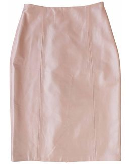 Pink Leather Pencil Skirt