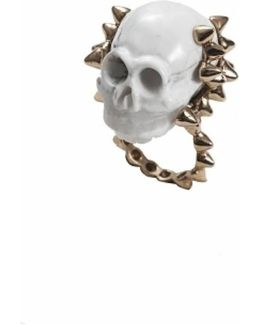 White Marble Skull With Bronze Studs