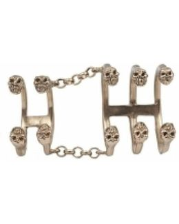 Bronze Articulated Ring With 10 Skulls
