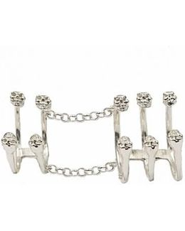 Silver Articulated Ring With 10 Skulls