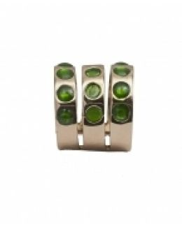 Triple Band Bronze Ring With Green Dots