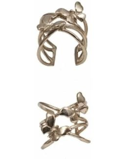 Bronze Criss Cross Ring With Butterflies