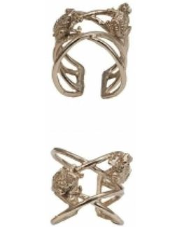 Bronze Criss Cross Ring With Frogs