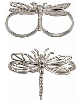 Two Finger Silver Ring With Dragonfly