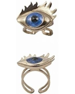 Bronze Ring With Blue Enamel Eye