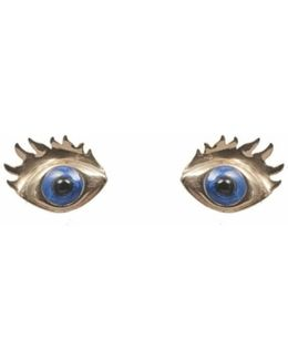 Bronze Earrings With Blue Enamel Eyes