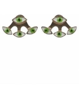 Green Evil Eye Gold Plated Bronze Earring And Jacket