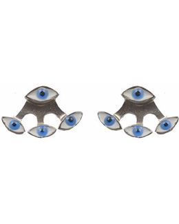 Blue Evil Eye Silver Earring And Jacket