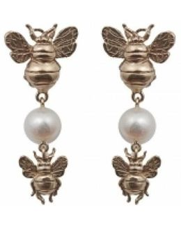 Bronze Earrings With Bees And Pearl