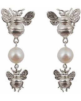 Silver Earrings With 2 Bees And Pearl